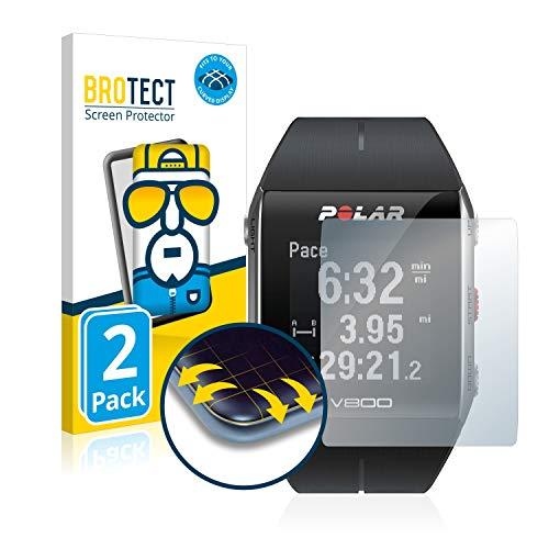 BROTECT Full Cover Schutzfolie kompatibel mit Polar V800 HR [2er Pack] - Full Screen Displayschutz, 3D Curved, Kristall-Klar