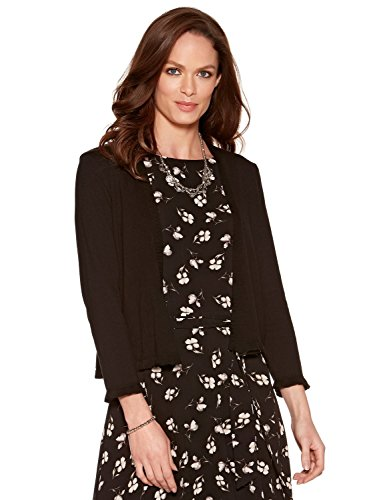 M&Co Ladies Viscose Three Quarter Length Sleeve Frill Cuffs and Trim Open Front Cropped Cardigan