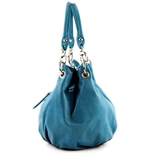 modamoda de - ital. Ledertasche Damenhandtasche Damentasche Schultertasche Nappaleder IT40 Türkisblau
