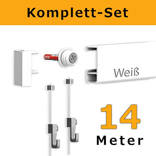 hang-it 14 Meter Bilderleisten Galerieleisten - Komplett Set in weiß
