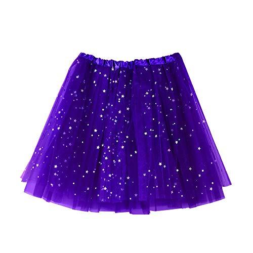 Star Jacke Rock Kostüm - Andouy Damen Sparkly Star Pailletten Tutu Rock Tüll Organza Petticoat Balletttanz Geschichtet Kostüm Dress-up Größe 36-46(36-46,Dunkelviolett)
