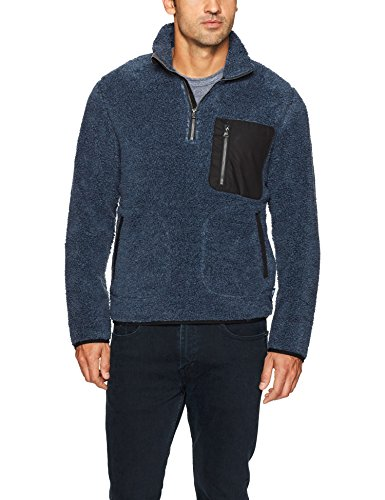 Woolrich Herren Glacier View Sherpa Fleece Half Zip Fleecejacke, Blue Heather, Groß -