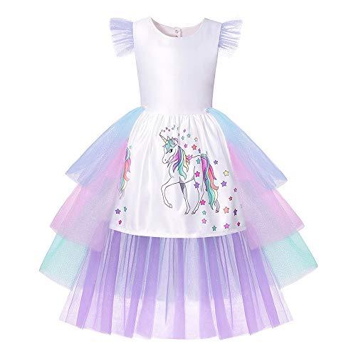 yeesn Einhorn-Kostüm, Prinzessinnen-Kostüm, Abnehmbarer Tüll, Regenbogenschwanz und Einhornhorn für Mädchen Gr. 7-8 Jahre, - Schule Themen Tanz Kostüm