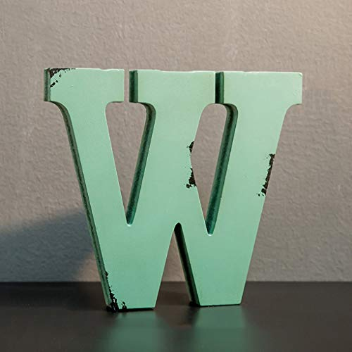 CXQ Weinlese-alte Feste hölzerne grüne englische Buchstaben dekorative Verzierungs-Bar-Café-Wand-Dekorations-Fotografie-Stützen (Color : W) - Familie Licht Im Freien Wand