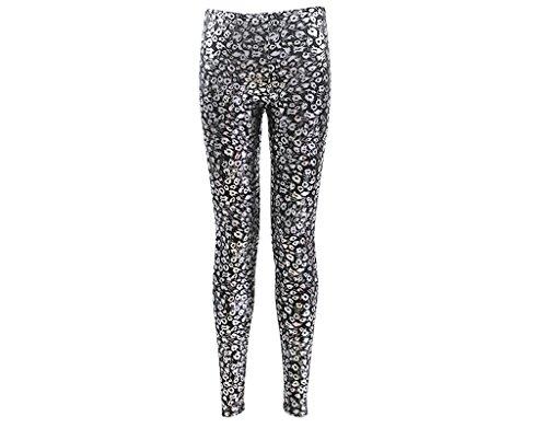 BONAMART ® Damen Sexy Gothic Punk Glanz Leopard Metallic Spandex Leggings Lack Leggins Hose Gold (Metallic Womens Leopard)
