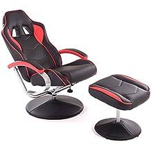 Racing TV Sessel mit Hocker aus Kunstleder in schwarz-rot ergonomisch geformt kippbar und 360° drehbar