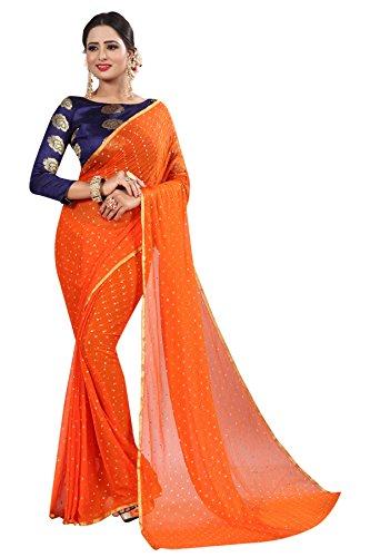 PerfectBlue chiffon Saree With Blouse piece (OrangeNA6AZMIN_Orange_Free Size)