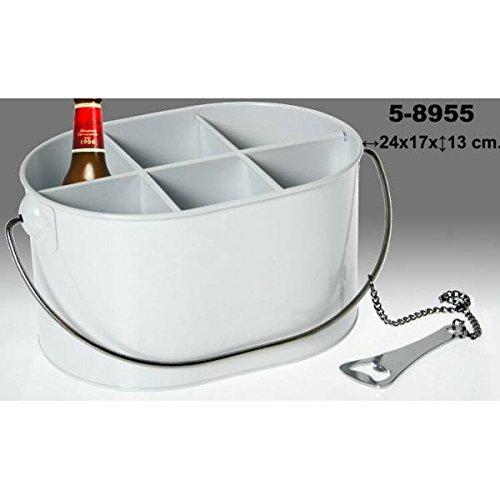 Pide X esa Boca Caja Porta Botellas Lacado con Abridor, Metal, Blanco,...