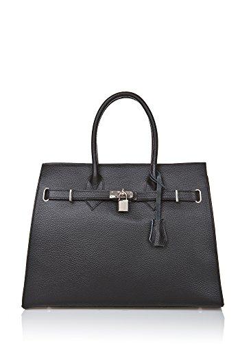 """Show Some Love """"Luisa"""" Italienische Damen-Handtasche Henkel-Umhänge-Tasche Shopper Echt-Leder made in Italy (Schwarz)"""