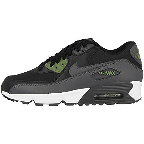Nike Schuhe Air Max 90 Mesh (GS) Unisex black-dark grey-palm green (833418-008), 37,5, schwarz