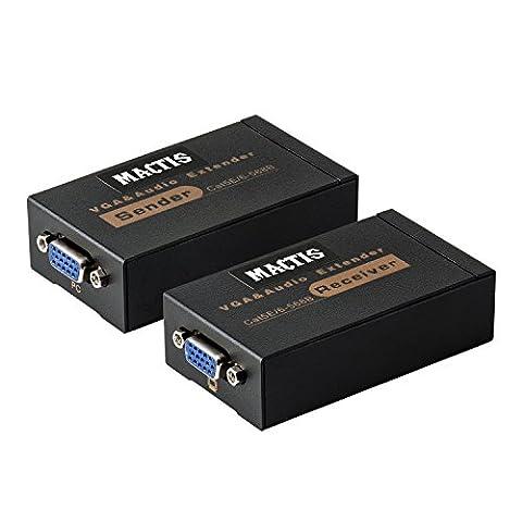 VGA Extenseur, MACTIS® VGA Vidéo Amplificateur Splitter sur Cat5e / 6 Câble Ethernet avec Audio Supporte jusqu'à 60m / 100M (328ft/100m, Sender +