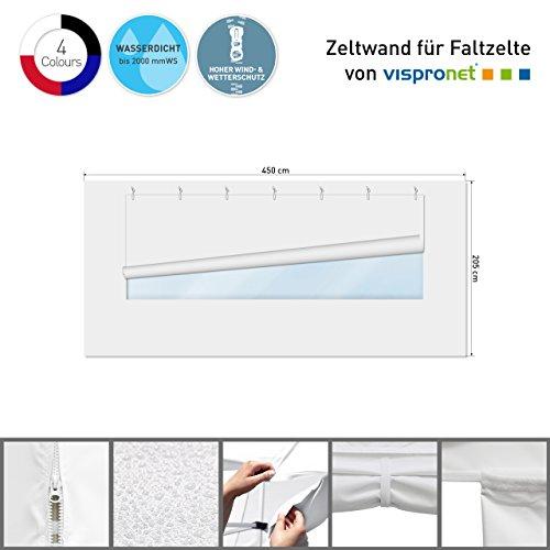 Vispronet Zeltwand mit Panoramafenster für Faltzelt Basic, Select & Eco (3m x 4,5m, Weiß)