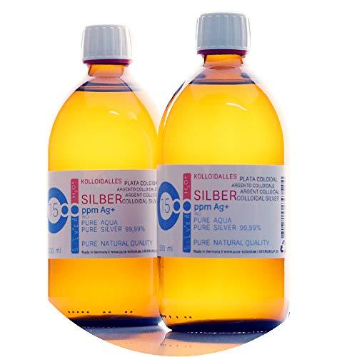 PureSilverH2O 1000ml kolloidales Silber (2X 500ml / 15ppm) - Reinheit & Qualität seit 2012 (Stellen Sie Kolloidales Silber)