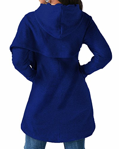 BONESUN Damen Kapuzenpullover Batwing Ärmel Asymmetrisch Saum Pullover Sweatshirt Jumper Hoodie Tops Blau