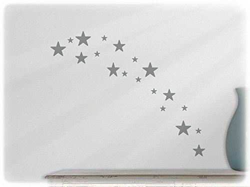 wandfabrik – Wandtattoo – 19 hochwertige Sterne (St4xs) in mittelgrau