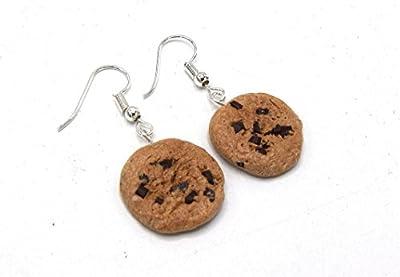 Passionnella - boucles d'oreille cookies aux pépites de chocolat en fimo, polymer clay biscuit en polymère kawaii, bijoux aliment,gourmandises fimo