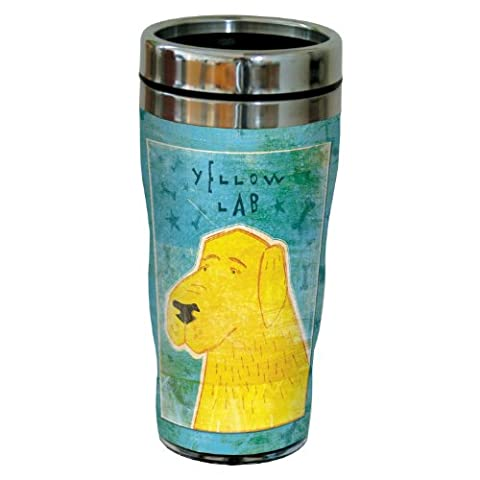 Tree-Free Greetings sg23989 Labrador Sip 'N Go Lined Travel Tumbler, Yellow