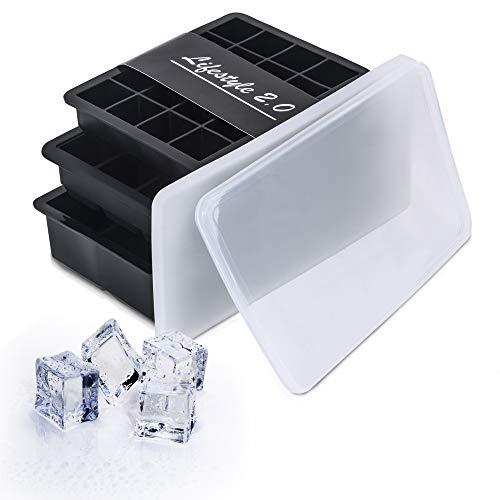 Lifestyle 2.0 Eiswürfelform Mit Deckel 3er Set Silikon-Formen Eiswürfelbehälter BPA-Frei Für Eiswürfel Klein Und Groß