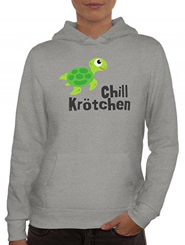 Turtle Schildkröte Damen Kapuzenpullover mit Chillkrötchen 1 Motiv von ShirtStreet Graumeliert