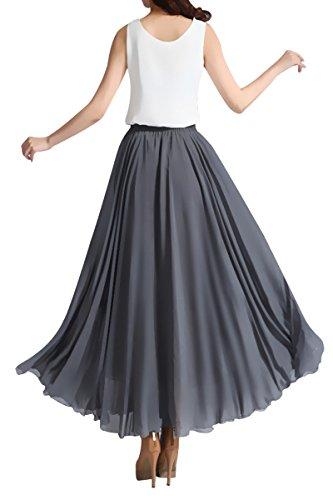 Omela Damen Elegant Chiffonrock Langer Faltenrock Maxirock A linien Chiffon Röcke Marine Blau