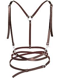Harnais ceinture et bretelles marron imitation cuir, accessoire steampunk 46e77184ee8