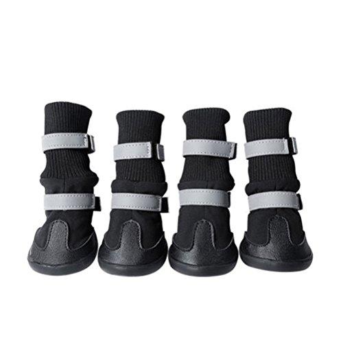 UEETEK Botas para Perros Antideslizantes Zapatos para Perros Impermeables Negro 4 Unidades size S