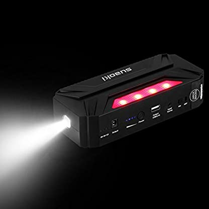 41MUZcIbENL. SS416  - Suaoki T3 Plus - Jump Starter de 18000mAh, 600A Coche Arrancador con Mini Compresor de Aire (USB puertos 12V/16V/19V, linterna LED, batería externa para móvil, tablet)