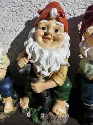 2 x Gartenzwerge 25 cm groß Figuren Zwerg Gartenfigur - 3