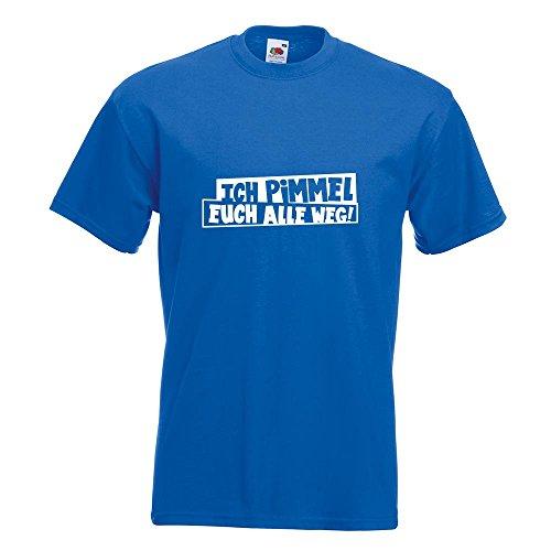KIWISTAR - Ich pimmel euch alle weg! T-Shirt in 15 verschiedenen Farben - Herren Funshirt bedruckt Design Sprüche Spruch Motive Oberteil Baumwolle Print Größe S M L XL XXL Royal