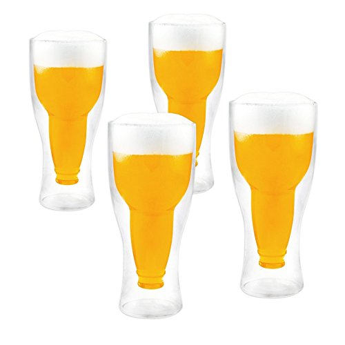 LABT Doppelwandige Thermo Biergläser 4er Set mit 340ml Füllmenge - genießen Sie länger Ihr kühles Bier !!!