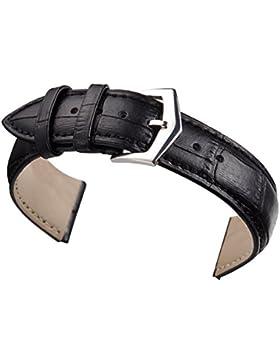 21mm schwarz echtes Leder-Uhrenarmband matt gepolstert Krokodil Standardlänge geprägt