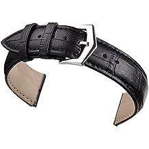 18 mm orologio in pelle nera sostituzione banda cinturino in