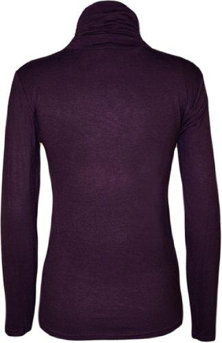 Nuovo Donne A Collo Alto A Maniche Lunghe Elasticizzato Tinta Unita Polo Maglione Da Donna 8 - 14 Porpora