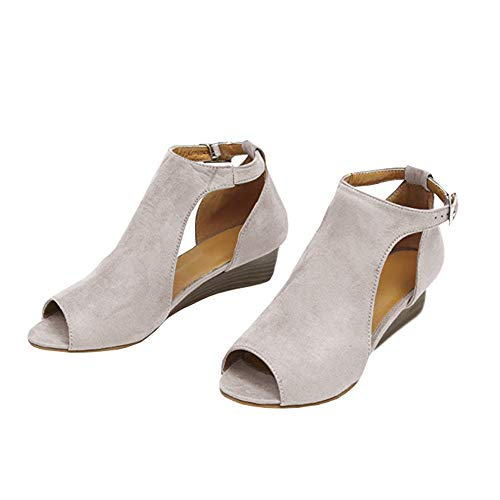 Pxmoda Women's Cut Out Espadrille Platform Wedge Sandals Ankle Strap Peep Toe Suede Shoes (43, Beige) Ankle Strap Platform Sandal