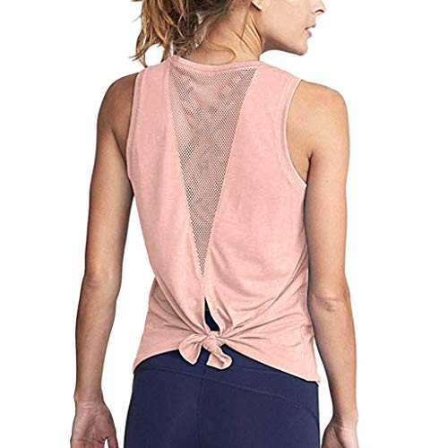 ESAILQ Frau Süß Yoga-Trainings-Mesh-Shirts Activewear Sport-Tanktop Mit Offener RüCkseite(X-Large,Rosa)