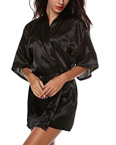 Schwarze Seide Kimono (Avidlove Damen Seidenrobe Kimono morgenmantel damen seide)