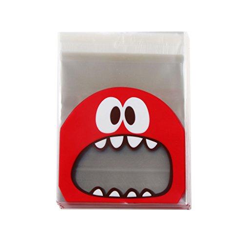 Generic Monster Selbstklebend Cookie Süßigkeiten Beutel Tasche Geschenk - Rot, 10 * 10 + 3cm (Cookie Monster Dekorationen)
