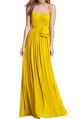 Sunvary Damen Traegerlos Abendkleider Bodenlang Falte Ballkleider Neu Golden
