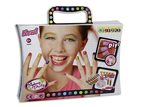 Vetrineinrete® set per manicure da bambina con smalto glitter dotting per nail art lima unghie finte e adesivi estetista idea regalo giocattoli 41056 ce