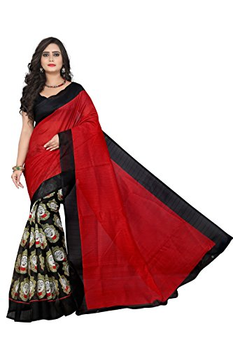 Aaradhya Fashion Women's Bhagalpuri Silk Kalamkari Printed Saree with Blouse Piece, Free Size (Red, Bg-mahakali-01)