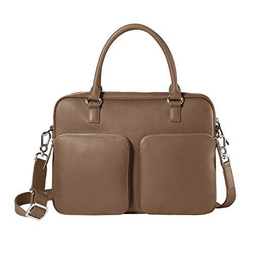 CHI CHI FAN Laptop Bag - Stone   Damen und Herren Umhängetasche aus echtem Leder   Top Qualität und Design treffen auf maximale Funktion und viel Stauraum   Bestens geeignet für Arbeit oder Uni