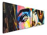 Paul Sinus Art Frau in bunt 180x50cm - 2 Wandbilder je 50x90cm - Kunstdrucke - Wandbild - Leinwandbilder fertig auf Rahmen