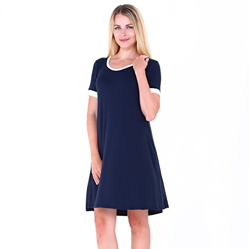 Damen Baumwolle Sommerkleider IHRKleid® Kurzarm Kleid Rockabilly kleid Stitching Bump Color Pocket Pleated Kleid Blau