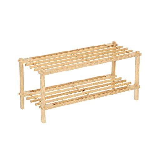 Zapatero 2 baldas madera abeto 64x26x29,50 cm