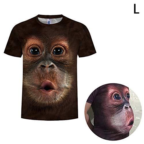 Ouken 1PC Lustiger AFFE T-Shirt Big Gesichts-Karikatur Digital Printing Kleidung bequem und atmungsaktiv Kurze Hülse Kreative Geschenk für Mann (L)