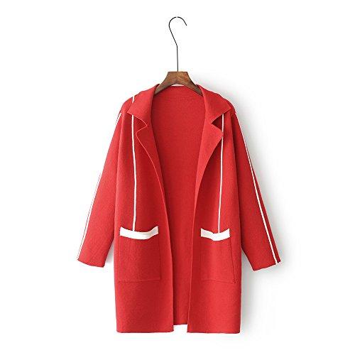 QIN&X Revers occasionnels Femmes Pull cardigan manteau Veste en tricot Red