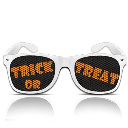 behör Trick or Treat Halloweenbrille Verkleidung Accessoires Halloween Gadget Brille mit Motiv (Nerd weiß) (Halloween Nerd Zubehör)
