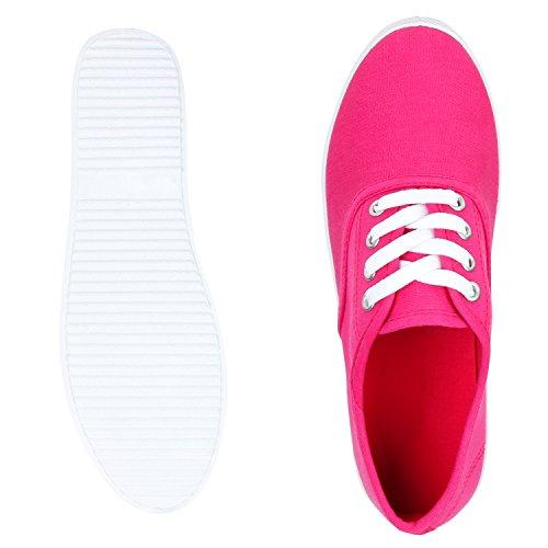 Damen Sneakers Freizeit Schuhe Stoffschuhe Pink Fuchsia