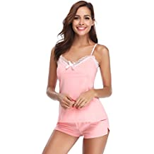 858ed38029 Hawiton Pijama Mujer Verano Corto Algodon Ropa de Dormir Sexy 2 Piezas  Conjunto de Pijamas de