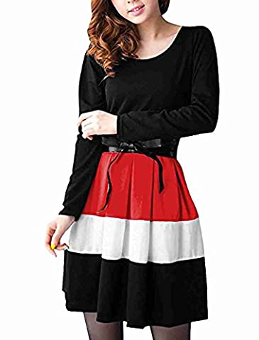 Move&Moving(TM) Women Fall Winter Pleated Stripe Belted Color Block